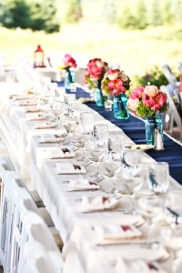 tables with bridesmaids bouquets
